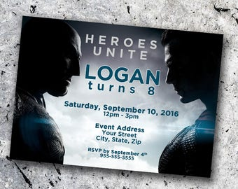 Batman v Superman Personalized Birthday Invitation