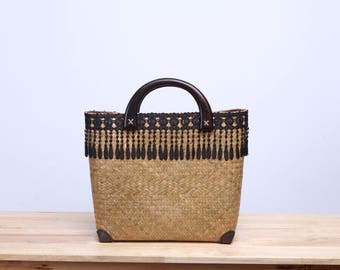 Wicker tote bag, Krajood tote bag decorated with lace, Thai handmade, made from natural, gift for her, Vintage style