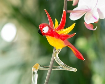Beautifull Glass Orchid Flower Plant Support Glass Bird Ornament Stakes Canes - Bright Orange Red withYellow  2_1