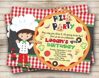 Pizza Party Birthday Digital Invitation