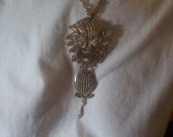Vintage, Goldtone, Lion, Pendant, 20 inch, Goldtone, Necklace