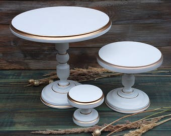 Set of 3 wooden cake stands,white cupcake stand,dessert stands,Wood Wedding Cake Stand,Cake Plate,white cake pedestal,wooden cake holders