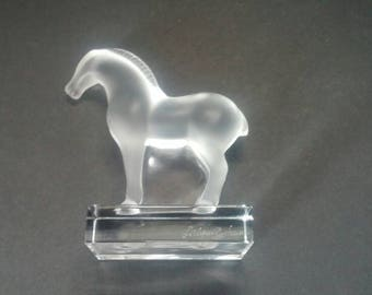 Lalique France Crystal Frosted Glass Tang Horse Figurine Statuette  Paperweight