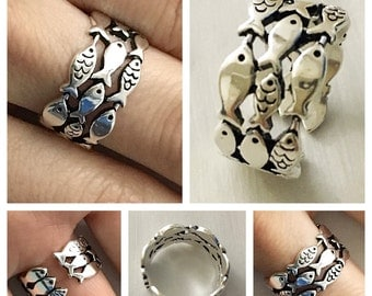 Fish Ring 925 Sterling Silver