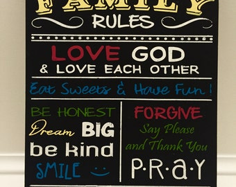 Family rules painted sign