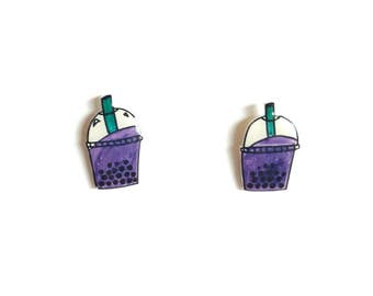 Bubble Tea Stud Earrings | Large, Shrink Plastic, Cute, Food.