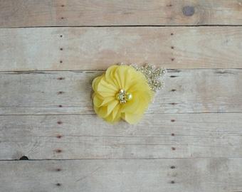 Yellow Flower Hairclip, Flower Girl Hairclip, Wedding Clip, Bridal Hairclip, Rhinesyine Hairclip, Fascinator, Bridesmaid, Bridal Shower Baby