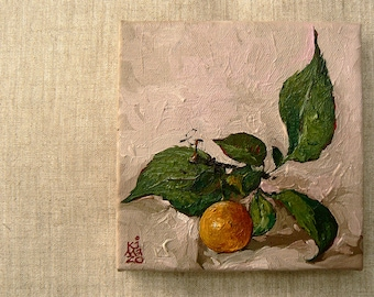 Single Gold  Plum. Still Life. Original Oil Painting by KIMAZO 6x6 inch on canvas.