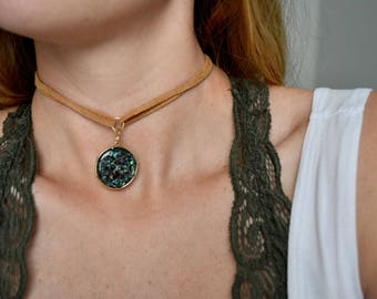 Leather Pendant Choker