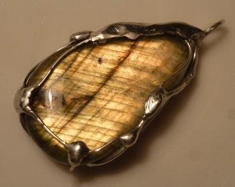 Labradorite pendant with 37mm, Labradorite, pendant - pendant silver