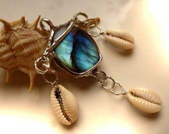 Cowrie shell - pendant silver cowry labradorite pendant with Labradorite and cowries, 62mm, unique, pendant