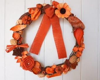 Spring Wreath, Easter Wreath, Dried Orange Flower Wreath, Autumn Wreath, Summer Wreath, Grapevine Wreath, Door Wreath, Home Decor, 12""