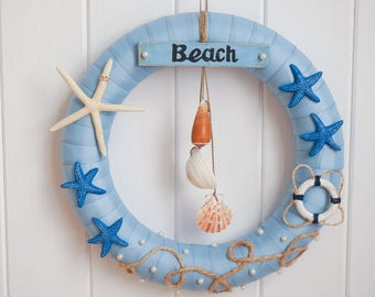 Beach Wreath, Summer Wreath, Shells Wreath, Year Round Wreath, Starfish, Front Door Wreath, Spring Wreath, Handmade Wreath, Home Decor, 12""