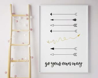 Go Your Own Way Framed Print, Arrows, Black and Gold, A4/A3, Kids Print, Nursery Wall Decor, Motivational Print, Be Yourself