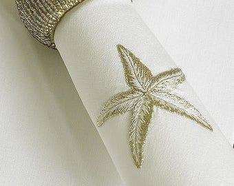 Machine Embroidery Design Gold Starfish