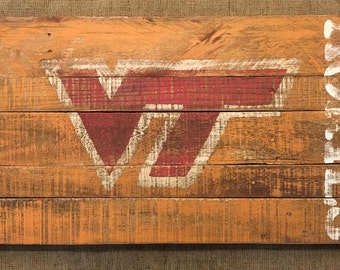 Rustic/Vintage Virginia Tech Hokies Sign