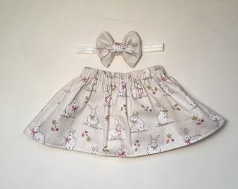 Handmade Sweet bunny rabbit skirt, newborn, easter, rabbit, girls skirt, baby skirt, toddler, cotton, cake smash, birthday