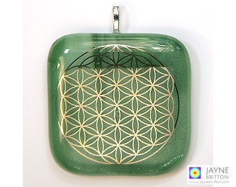 Flower of Life pendant, sparkling green glass, statement necklace, large pendant, fused glass, sacred geometry jewelry, green jewellery