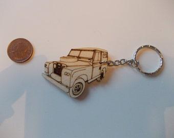 Land Rover Keyring Etched detail wooden