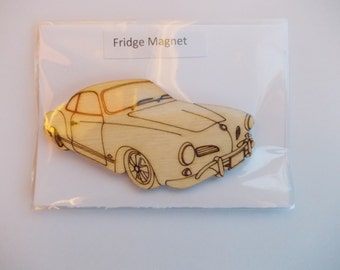 Karmann Ghia  Fridge Magnet - Wood etched Karmann Ghia