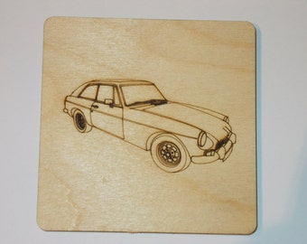 MGB GT Coaster - Etched wood