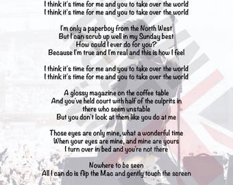 Courteeners - Take Over The World Lyrics Print