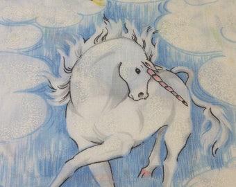 Vintage Unicorn Twin Flat Sheet ~4 tears ~ Crafty Worthy Fabric