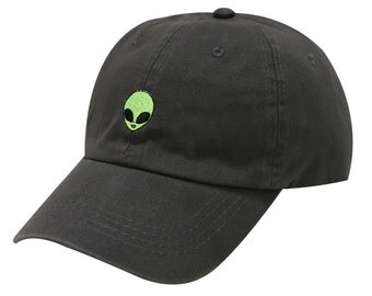 Capsule Design Small Alien Face Cotton Baseball Dad Cap Dark Grey