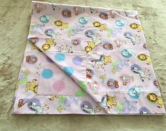 Flannel Receiving Blanket, Self Binding Receiving Blanket, Pink Baby Blanket