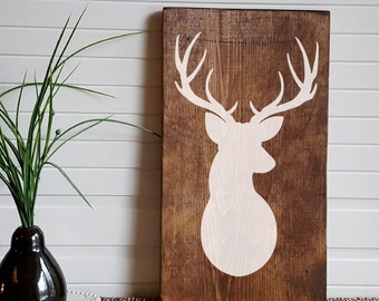 "Rustic Deer Head Hand Painted Wooden Sign - 16"" x 9.25"""