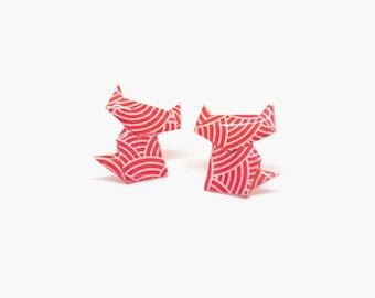 Stud earrings, cat stud earrings, cat earrings, origami earrings, paper earrings, origami jewelry, red earrings, jewelry