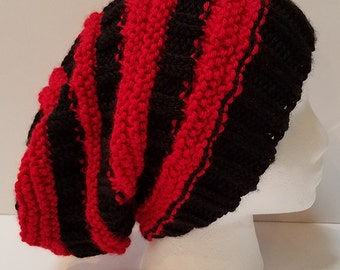Black and Red Slouchy Hat