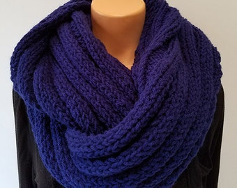 Navy Blue Hand Knit Infinity Scarf