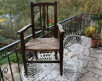 Beautiful antique child's rush chair