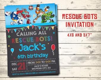 """Rescue bots invitation, Rescue bots birthday invitation, Rescue bots party invitation! Personalized invite, 4x6"""" and 5x7"""" sizes!"""