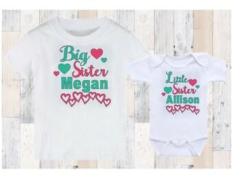 Big Sister Little Sister Personalized Matching Shirts - Big Sis Lil Sis Hearts - Matching Set - Sisters