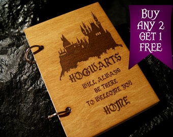 Hogwarts castle wooden notebook / Harry Potter notebook / sketchbook / diary / Harry Potter journal / travelbook / Harry Potter gift
