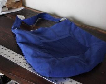 Royal Blue Corduroy and Flower Pattern Market Bag