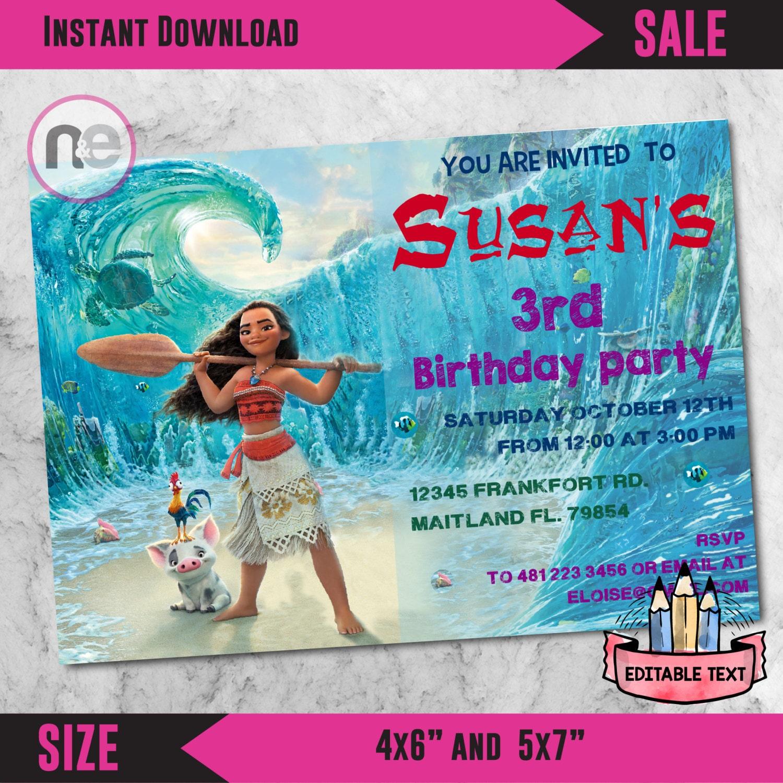 Sale moana party moana moana invitation moana birthday for Printable moana invitations