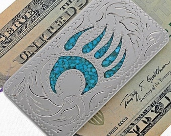 Silver Engraved Money Clip Turquoise Inlaid Bear Paw