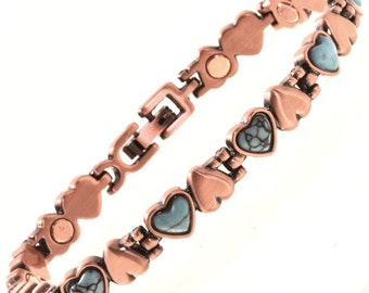 Turquoise Heart Copper Tennis Bracelet Magentic Ladies Link Style
