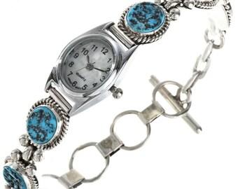 Turquoise Silver Link Watch Bracelet Adjustable Navajo Made