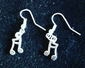 Handmade Silver Plated Note Earrings