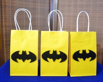 BATMAN FAVOR BAGS - Set of 12 Batman Inspired Party Bags, Superhero Party,  Batman Party, Batman Birthday, Batman Party Bag, Batman