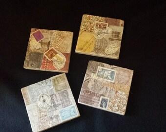 Retro Postal Stamp Collage Decoupage Coasters