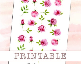 PRINTABLE planner stickers - Watercolor roses || perfect for your filofax / erin condren planner etc