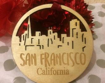 FREE SHIPPING *** San Francisco California *** Skyline Christmas Holiday Ornament ***