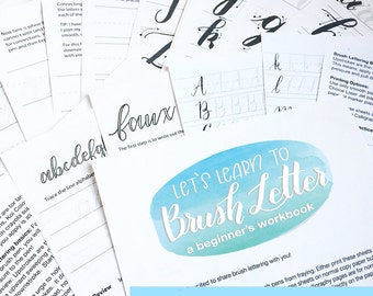 Let's Learn to Brush Letter Beginner's Workbook, Brush lettering Practice Sheets, worksheets, Hand Lettering, Modern Calligraphy