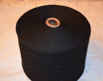 100% Polyester Knitting Machine Yarn Cone Super Black Slub 8/1