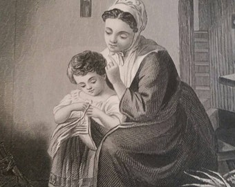 Mother and child lithograph 1886